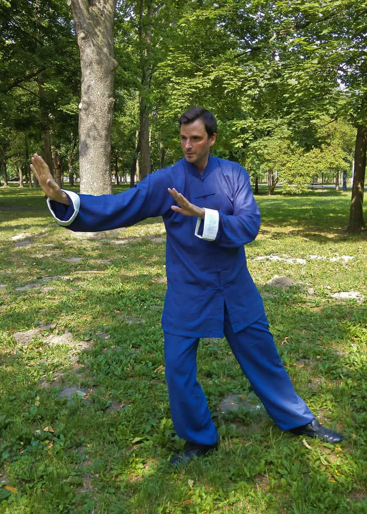 Taiji Uniform Marine Blue with White Overlap Sleeves