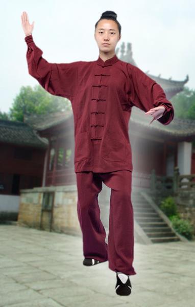 Taiji Uniform Maroon with Cuffs