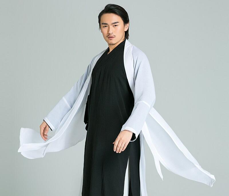 Handmade Linen Daoist Uniform Three Piece Jacket+Pants+Veil