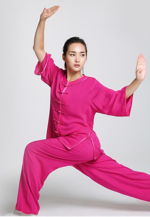 New Design Woman Short Sleeved Wushu Tai Chi Uniform Coat + Pants 18
